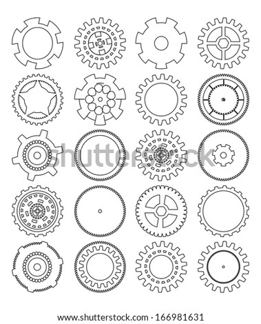 gears silhouette over white background - stock photo