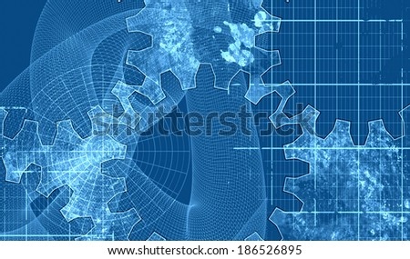 gears, spiral, net on blue background - stock photo