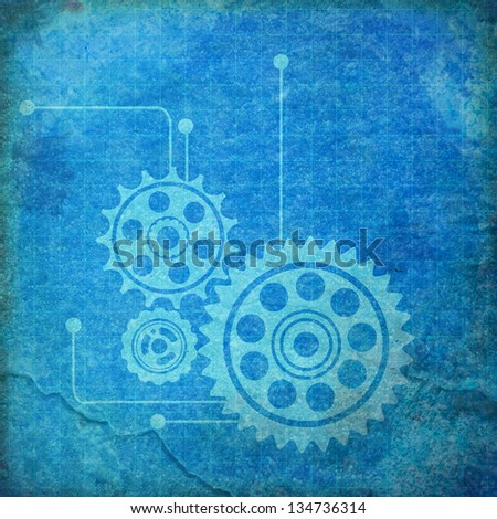 Gears vintage blueprint background paper stock illustration gears vintage blueprint background paper malvernweather Image collections