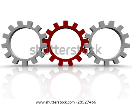 gears which symbolise movement mechanisms and business - stock photo