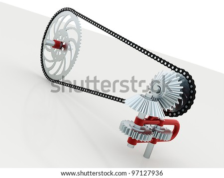 Gears with chain - stock photo