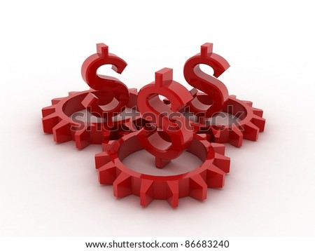 Gears with dollar - stock photo