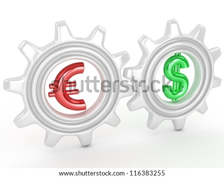 Gears with dollar and euro signs. Competition concept
