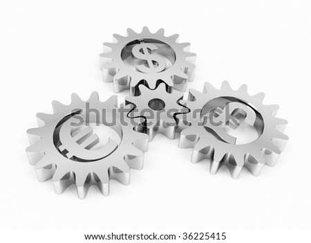 Gears with dollar, pound and euro signs. 3d rendering. - stock photo