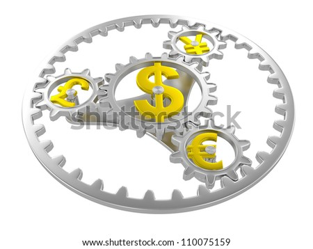 Gears with dollar, pound, yen and euro signs. 3d render - stock photo