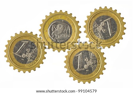 Gears with euro coins inside isolated on white background - stock photo