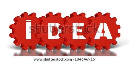 gears with idea text, Isolated on a white background