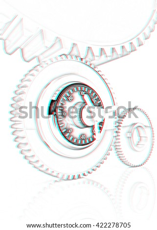 gears with lock. Pencil drawing. 3D illustration. Anaglyph. View with red/cyan glasses to see in 3D. - stock photo