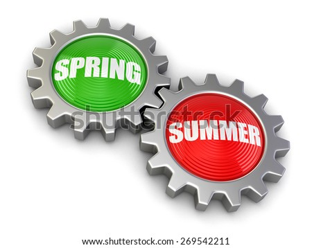 Gears with Spring and Summer (clipping path included) - stock photo