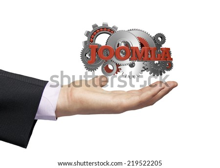 gears with text joomla over a businessman hand - stock photo