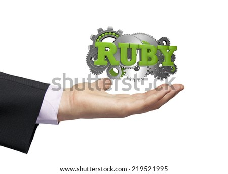 gears with the text ruby over a businessman hand - stock photo