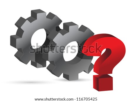 gears working together question mark illustration design - stock photo
