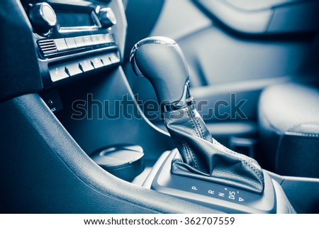 gearstick of speed shift selector in automatic transmission car