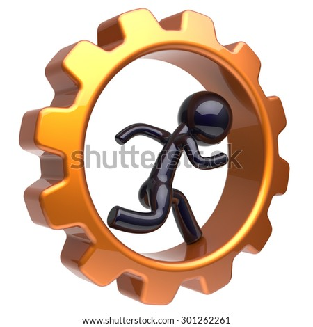 Gearwheel man character running inside gear wheel businessman rotate cogwheel stylized black human cartoon guy hamster person worker business activity employment job concept. 3d render isolated - stock photo