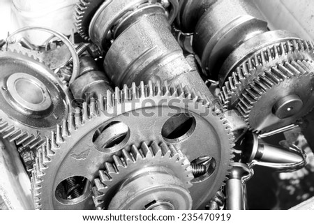 gearwheel of the old engine - stock photo