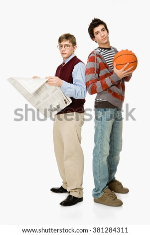 Geek and basketball player - stock photo