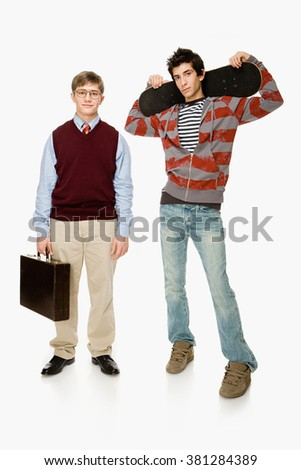 Geek and skater - stock photo