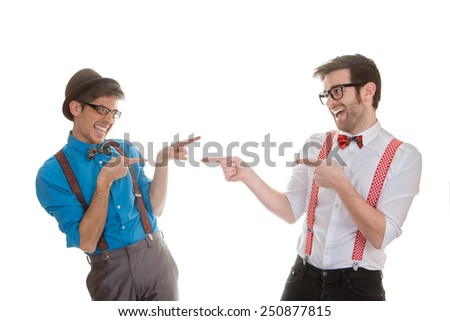 geek business men pointing - stock photo