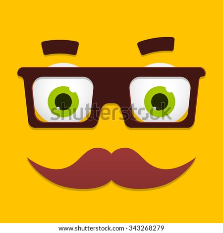Geek face with black glasses, green eyes and mustache for hipster or nerd avatar icon. Funny cartoon character portrait on yellow background. - stock photo