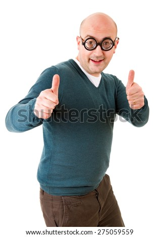 geek man going thumbs up, isolated on white background - stock photo