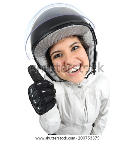 Geek moto biker woman with helmet and thumbs up isolated on a white background                 - stock photo