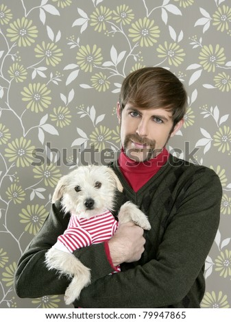 geek retro man holding dog such silly couple on retro wallpaper - stock photo