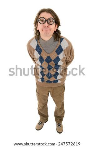 geek silly teacher full length, isolated - stock photo