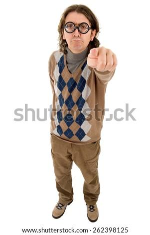 geek silly teacher full length pointing, isolated - stock photo