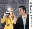 geek tacky mustache man reporter fashion girl photo shoot retro wallpaper [Photo Illustration] - stock photo