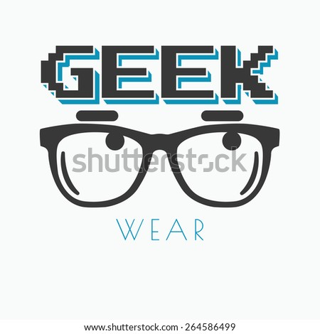 Geek wearing glasses typography t-shirt graphic design - stock photo