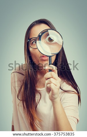 Geek with a magnifying glass