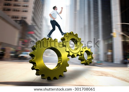 Geeky businessman running late against new york street - stock photo