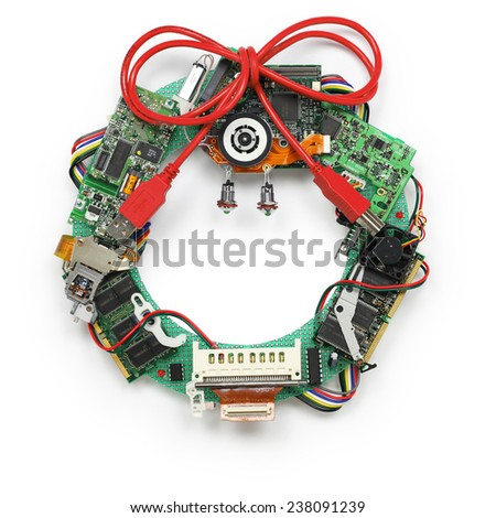 geeky christmas wreath made by old computer parts isolated on white background, christmas greeting card - stock photo