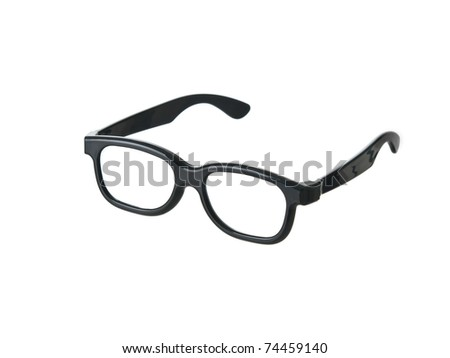 Geeky funny black glasses on pure white background - stock photo
