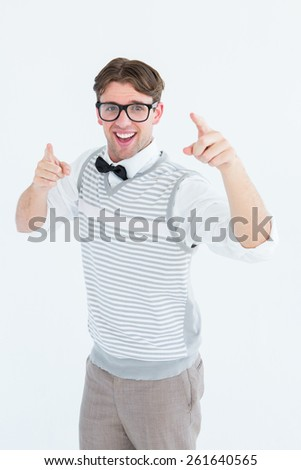 Geeky hipster in sweater vest dancing on white backgound