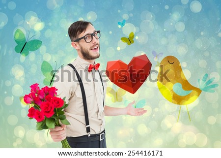 Geeky hipster offering bunch of roses against girly bird and butterfly design - stock photo
