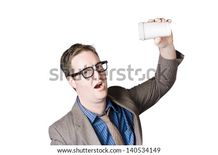 Geeky male staff member swigging a hot coffee beverage in super fast pace. Quick drink - stock photo