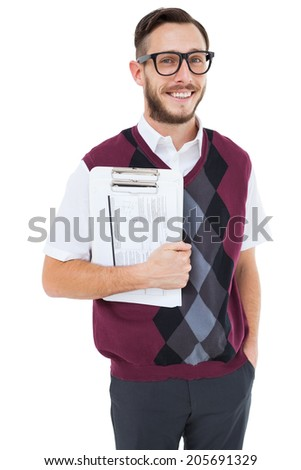 Geeky man holding clipboard in vest on white background