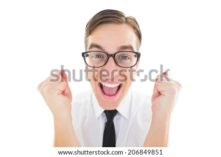 Geeky young hipster cheering at camera on white background