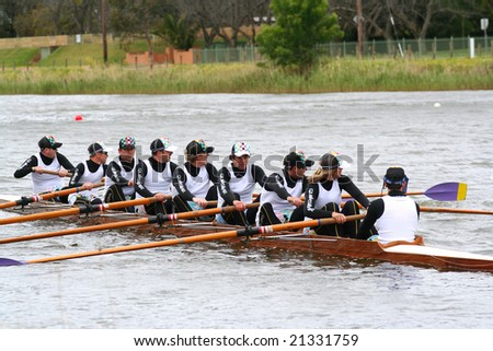 Geelong, October 13, Corporate head of the river held in Geelong on the barwon river. The Quiksilver team in their boat held on October 13 2007, Geelong, Australia - stock photo