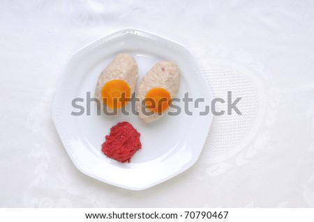 Gefilte fish with Horseradish,tradition Jewish food for?passover and Rosh Hashana,