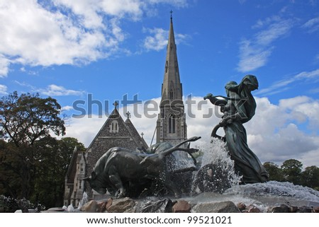 Gefion fountain, Copenhagen - stock photo