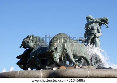 Gefion Fountain in Copenhagen - stock photo
