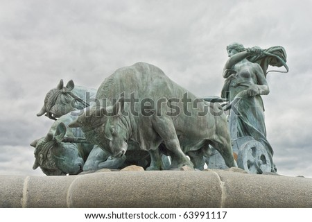 Gefion fountain located at Copenhagen, Denmark. - stock photo