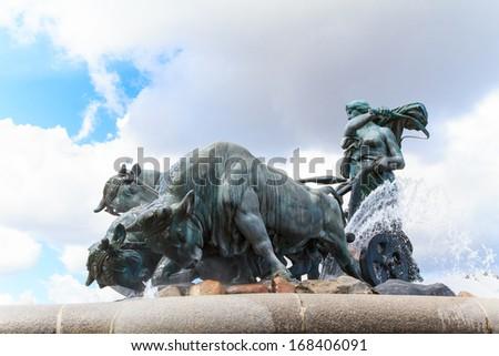 Gefion fountain with raging bulls in Copenhagen - stock photo