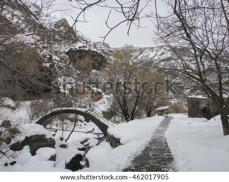 Geghard medieval monastery in the Kotayk province of Armenia near Yerevan. Winter time