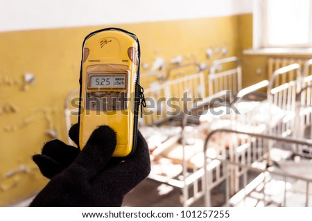 Geiger counter with a lot of radioactivity - stock photo