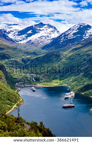 Geiranger fjord, Beautiful Nature Norway. It is a 15-kilometre (9.3 mi) long branch off of the Sunnylvsfjorden, which is a branch off of the Storfjorden (Great Fjord). - stock photo