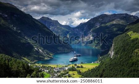 Geiranger fjord, Norway  - stock photo