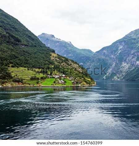 Geiranger fjord, Norway beach. Sea scape.